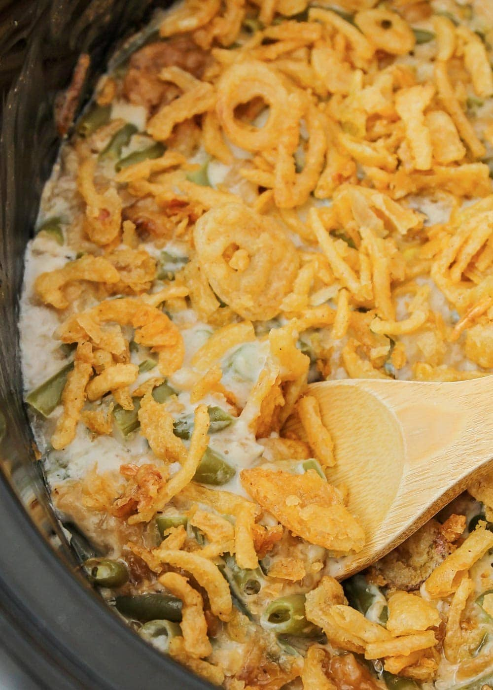 Close up of green bean casserole in the slow cooker