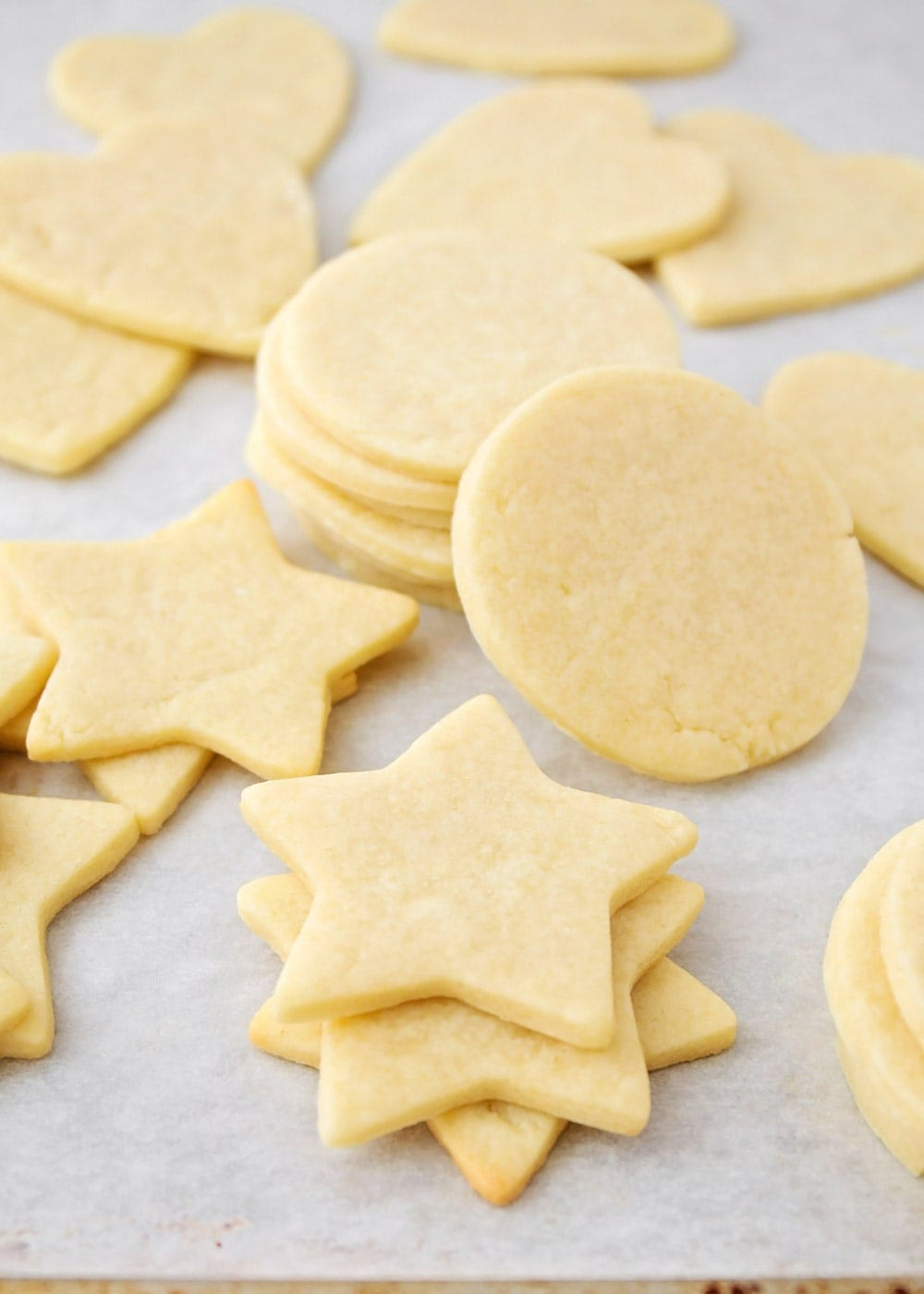 Close up of different shaped cream cheese sugar cookies