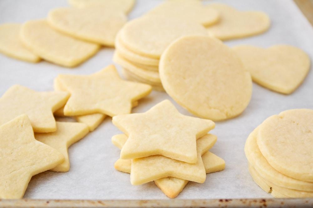 Cream Cheese Sugar Cookies cut into circles and stars