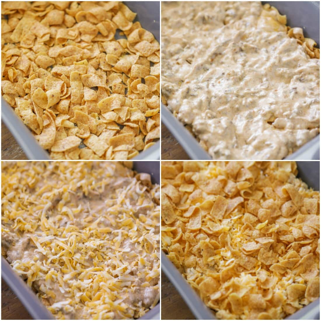 Step by step photos of how to make frito pie layers