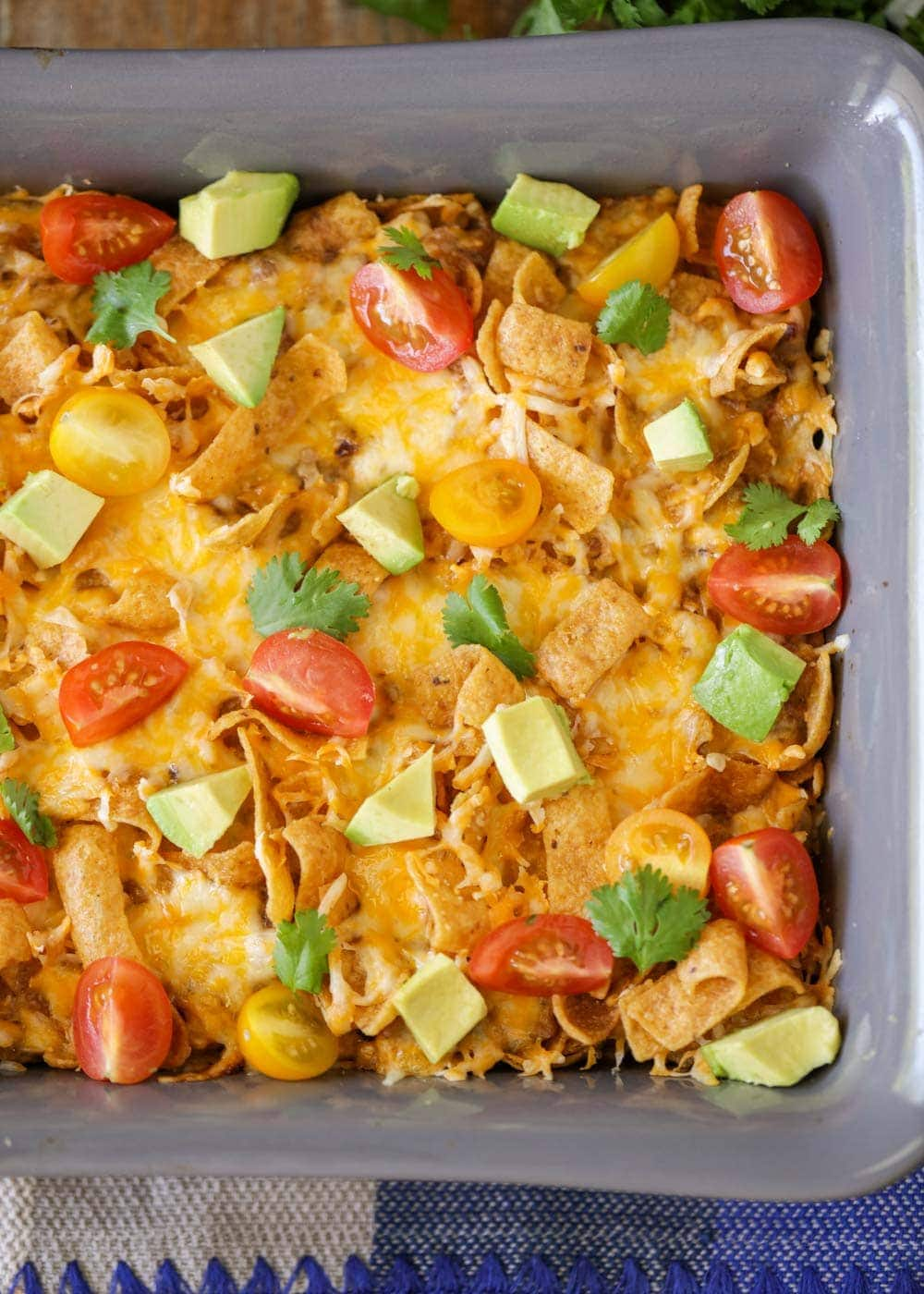 Frito chili pie in a baking pan