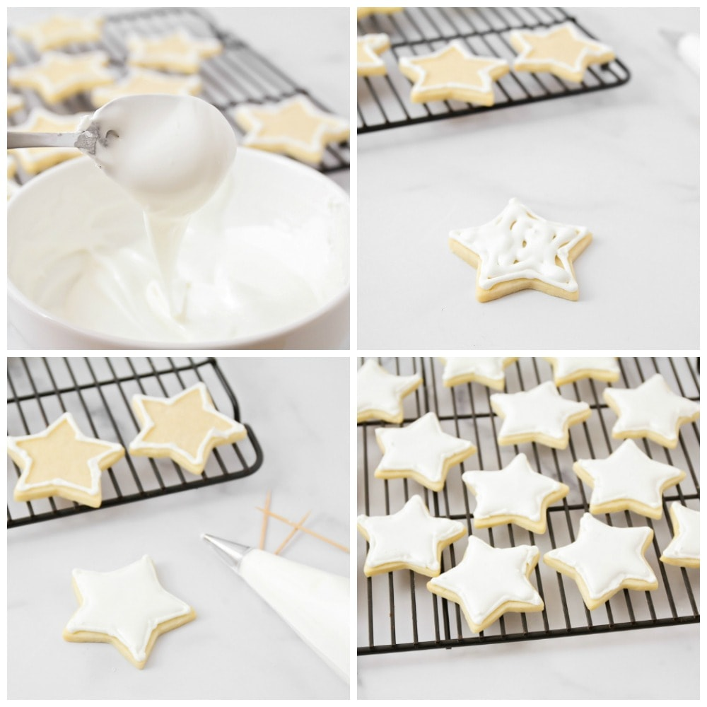 Step by step pictures of decorating cookies with royal icing