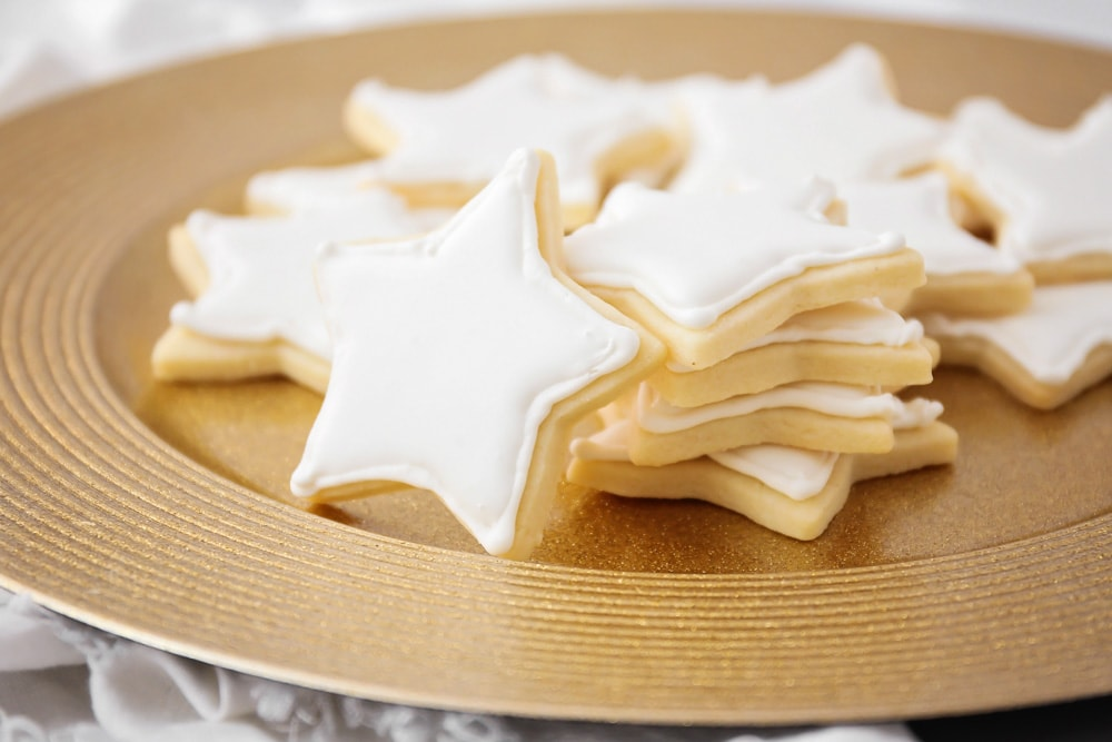 Royal Icing used to decorate star shaped sugar cookies