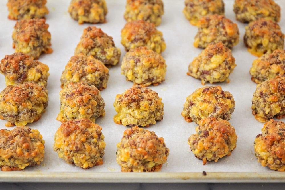 Baked bisquick sausage balls on a sheet pan