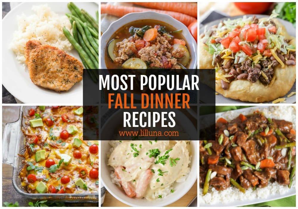 Collage of fall dinner recipes