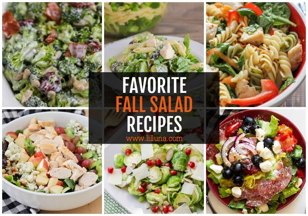 Collage of fall salad recipes