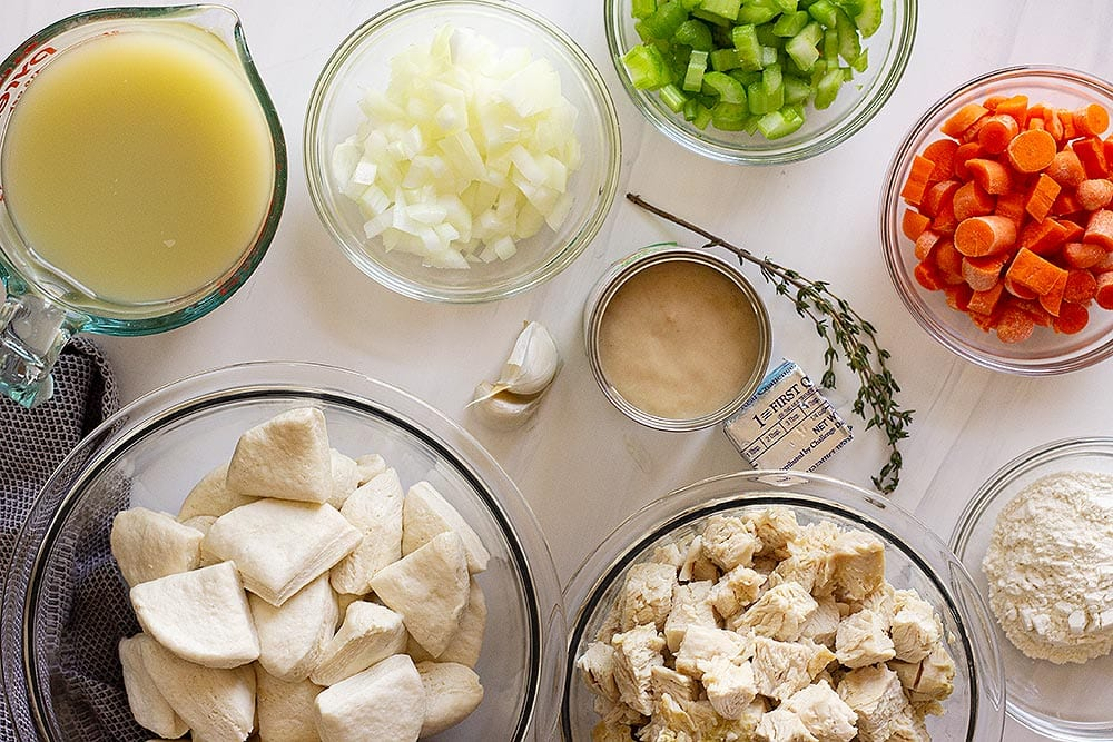 Ingredients for chicken and dumpling casserole recipe