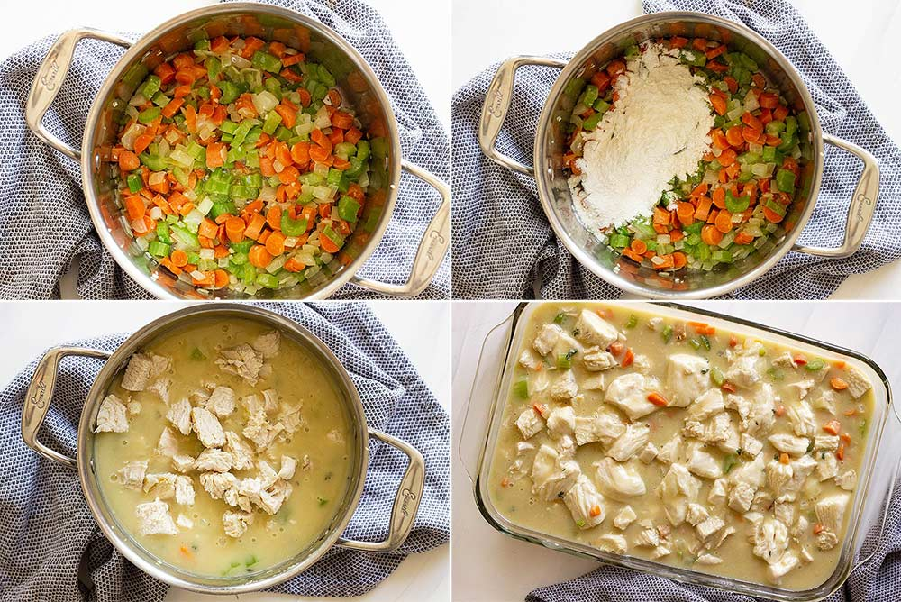 Step by step photos of making chicken and dumpling casserole