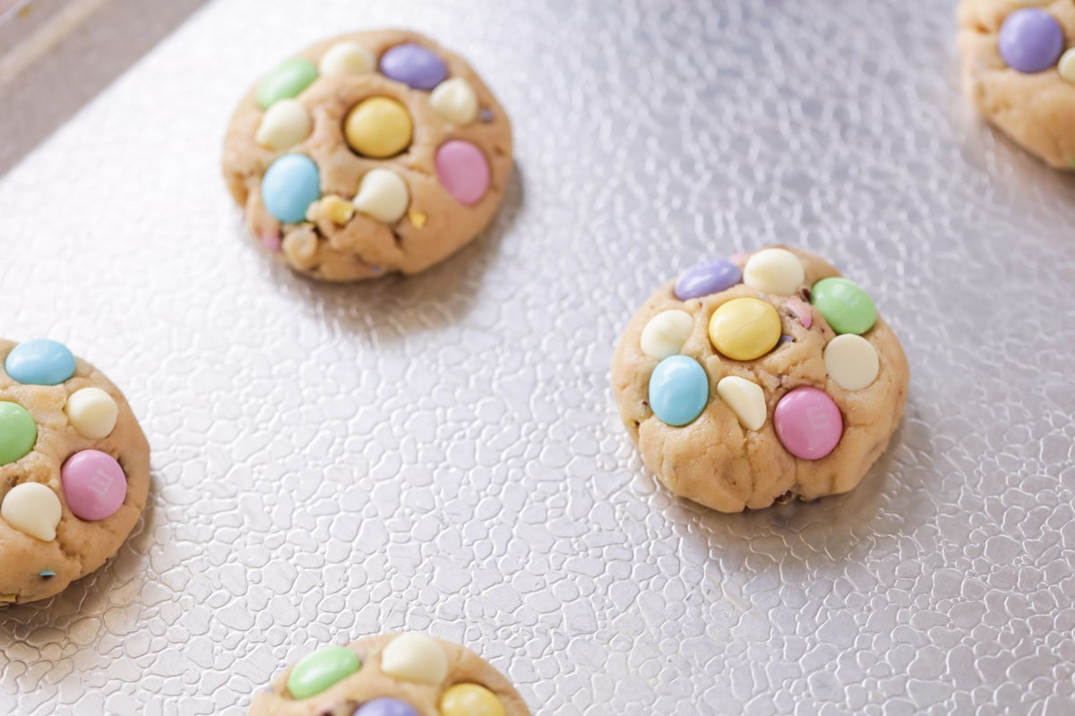 Easter Cookies topped with M&M's and white chocolate chips