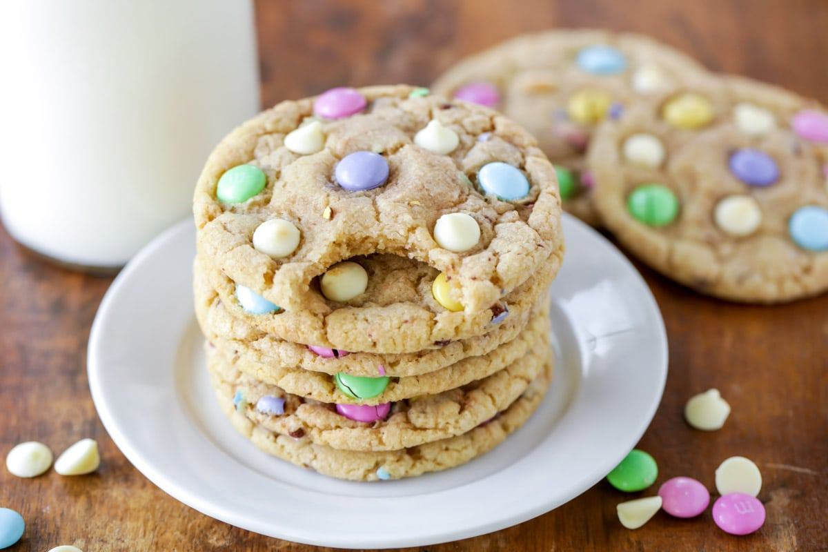 Easter Cookies stacked on a white plate