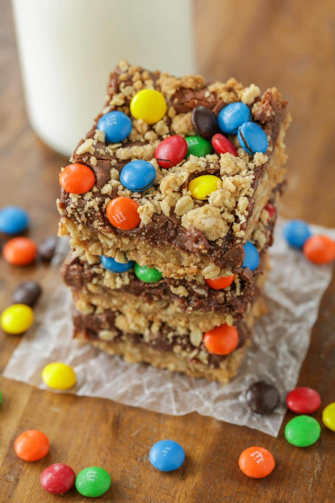 A stack of monster cookie bars