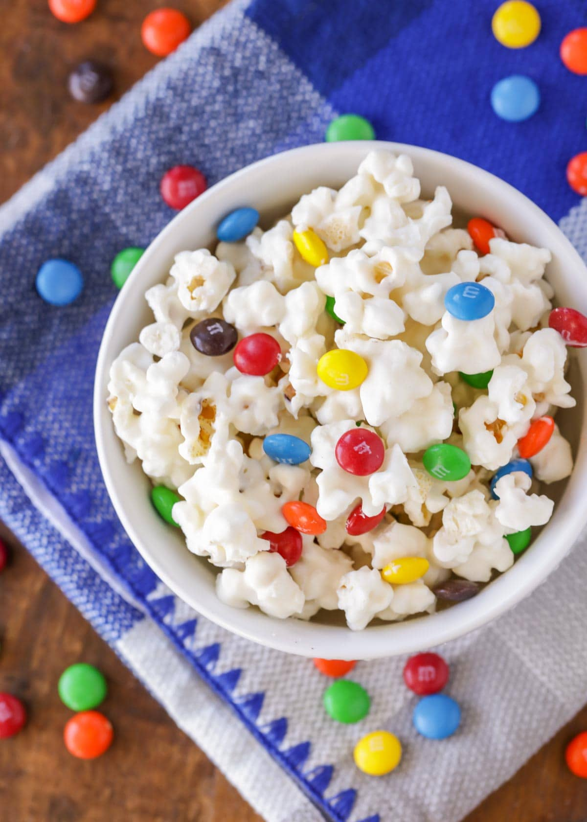 White chocolate popcorn recipe with M&Ms