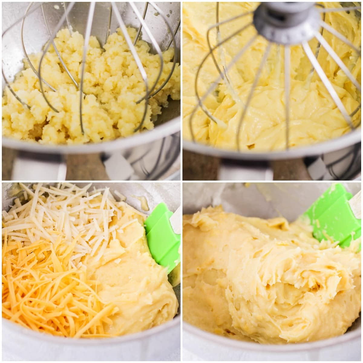 Mixing cheese into cheese puff dough