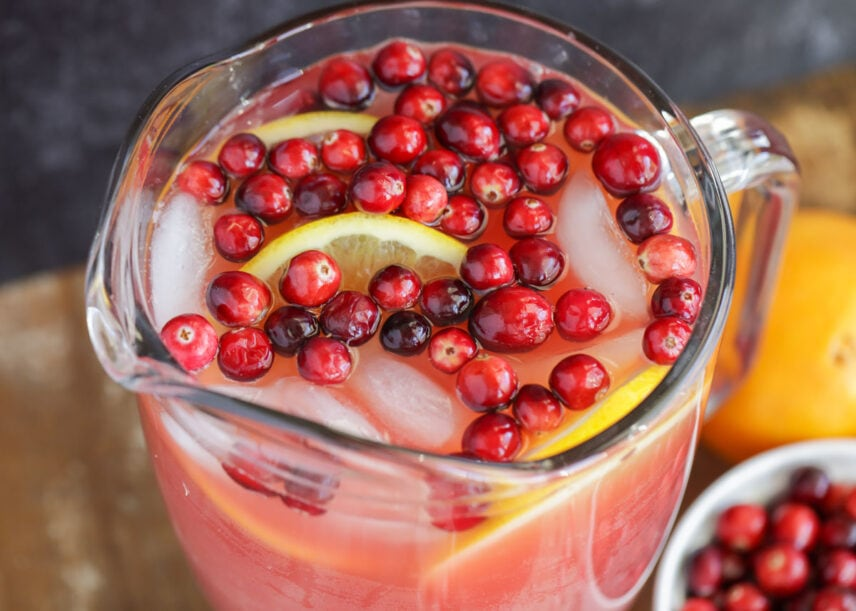 Close up of cranberry holiday punch in pitcher
