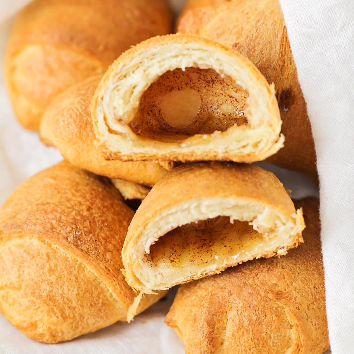 A pile of resurrection rolls with one broken in half