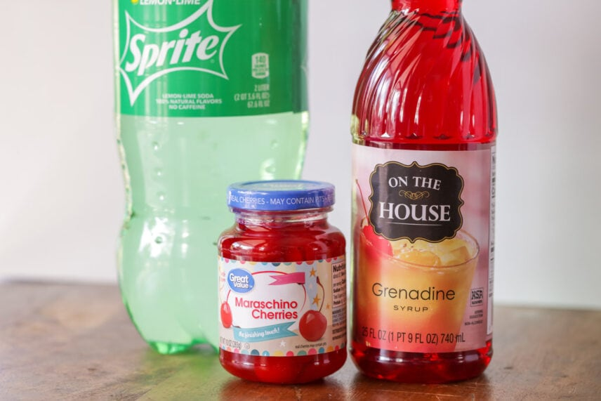 Ingredients for shirley temple recipe
