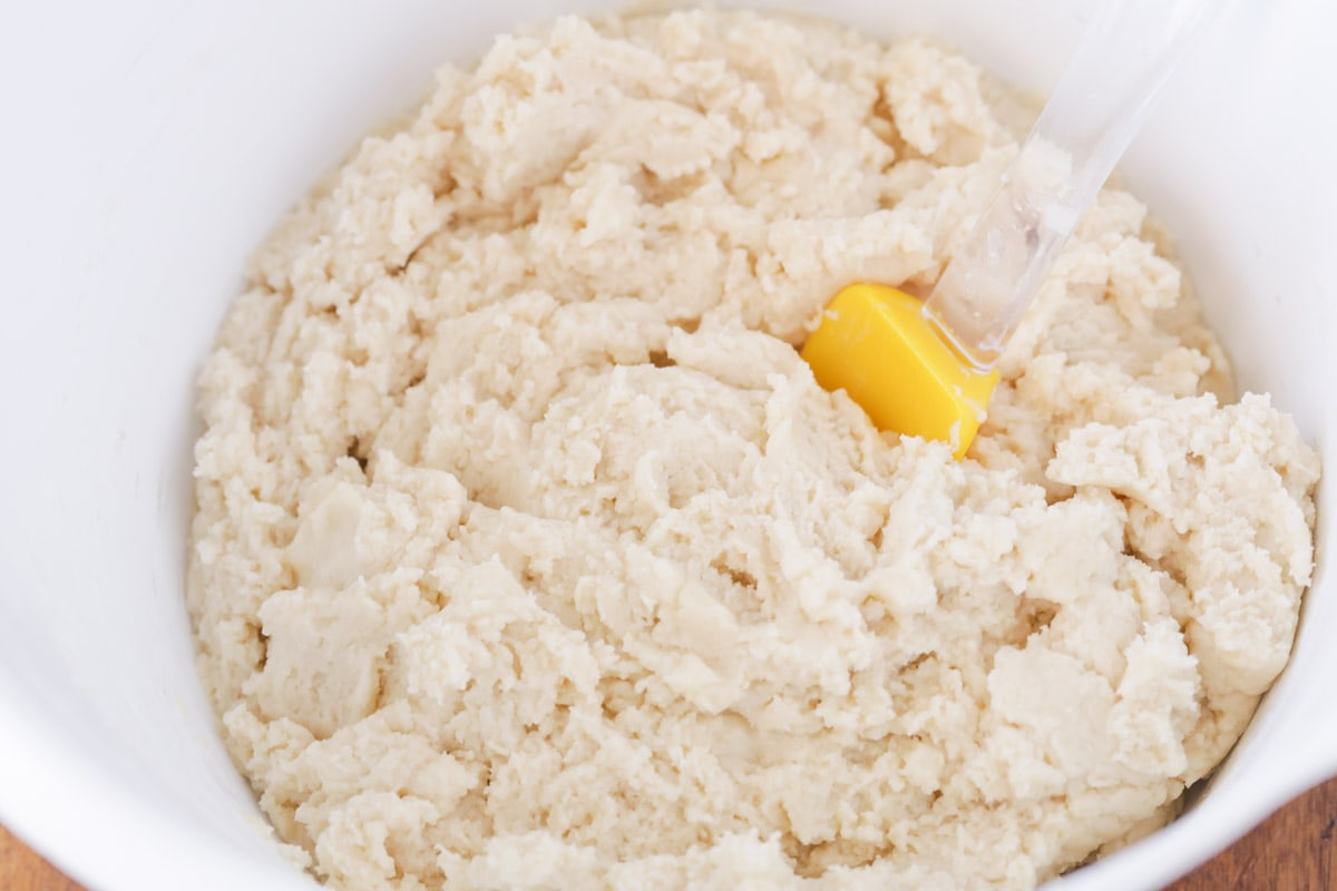 Amish sugar cookie ingredients in a white bowl