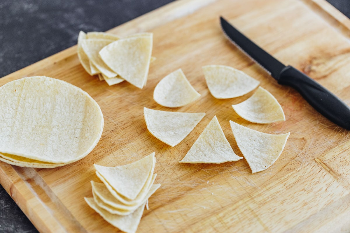 Cutting corn tortillas for baked tortilla chips recipe
