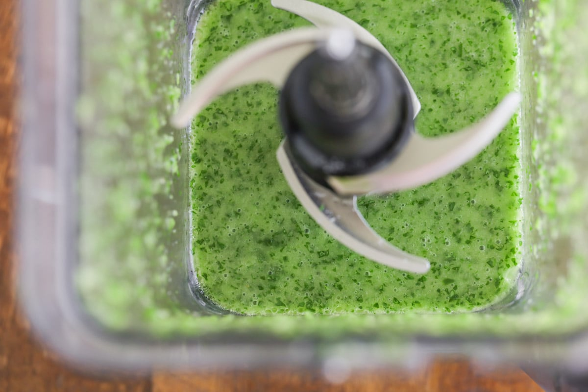 Cilantro lime vinaigrette dressing in blender