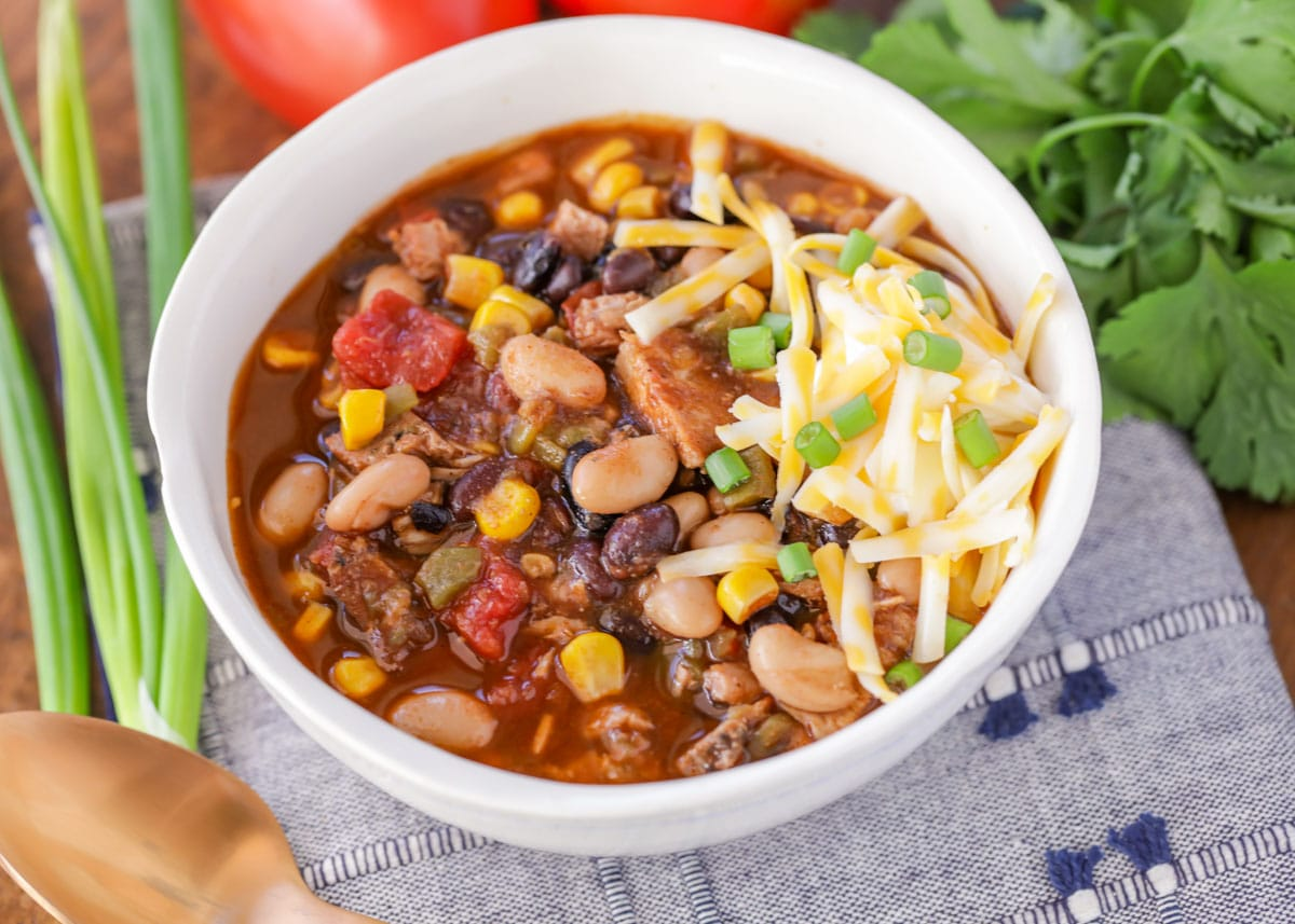 Slow cooker turkey chili in a white bowl