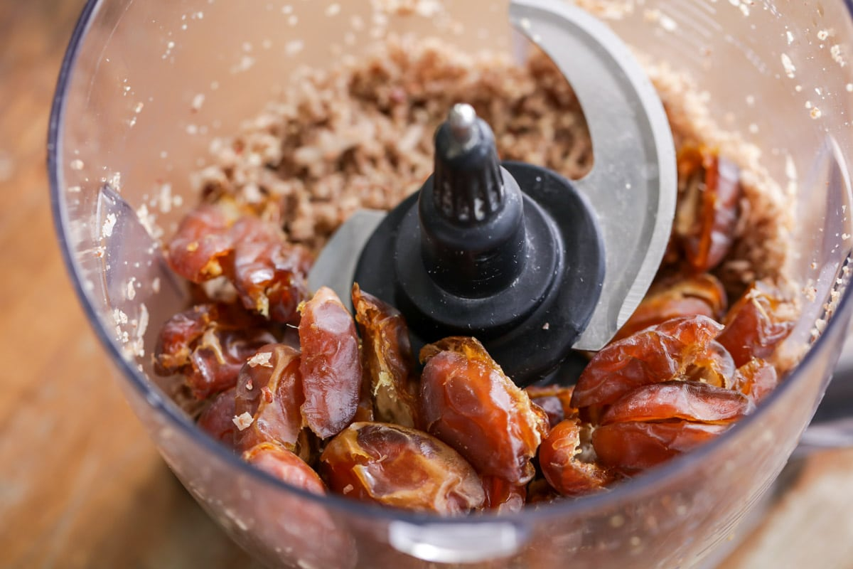 Dates and nuts in the food processor