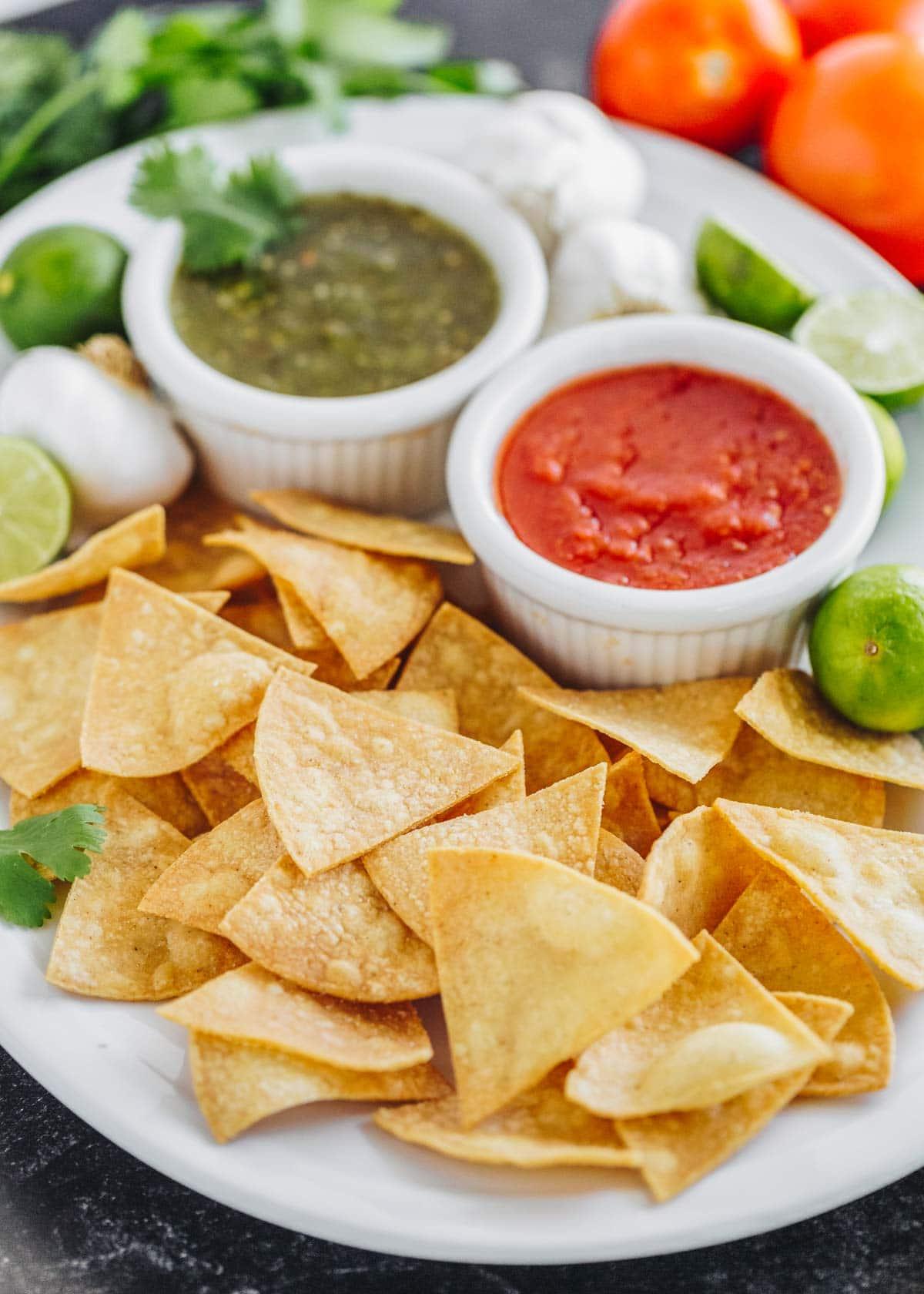 Homemade Tortilla Chips on a platter with salsa