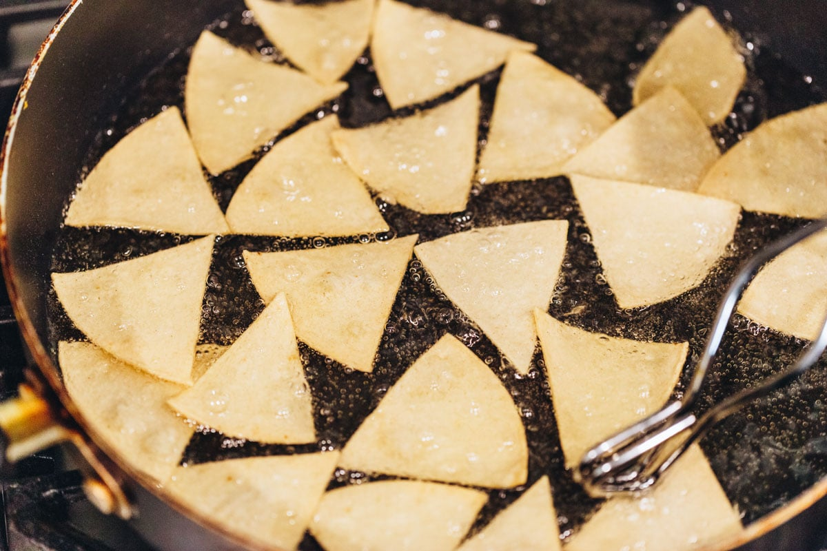 How to make homemade tortilla chips by frying in oil