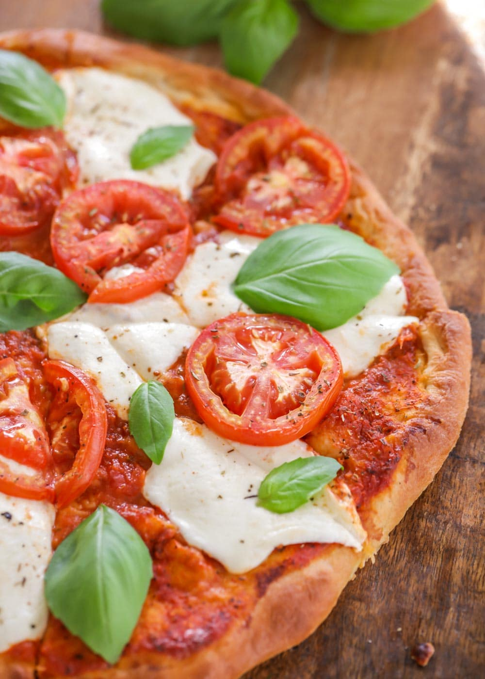 Closeup of margherita pizza recipe