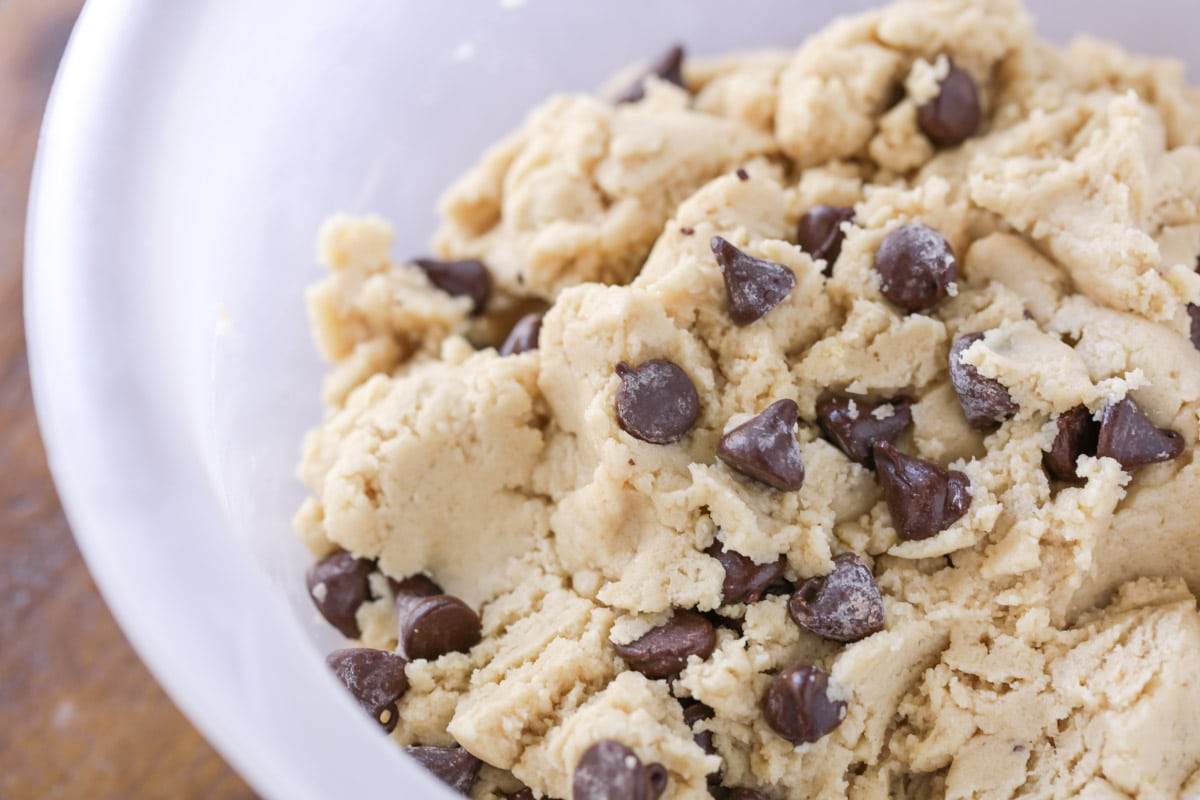 Nestle Toll House Cookie recipe ingredients in a white bowl