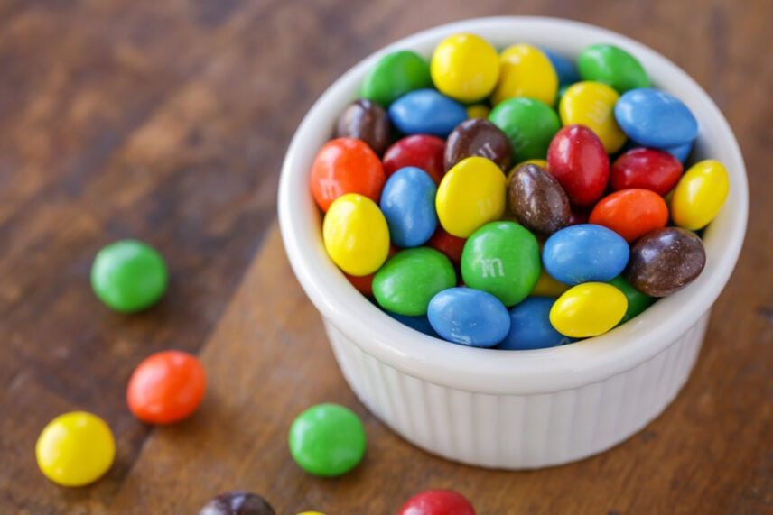 Peanut butter M&Ms in a bowl