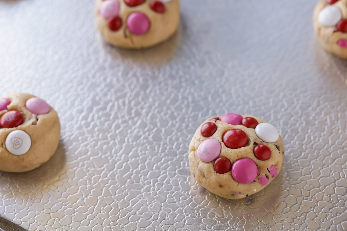 Valentine Cookies on a baking sheet