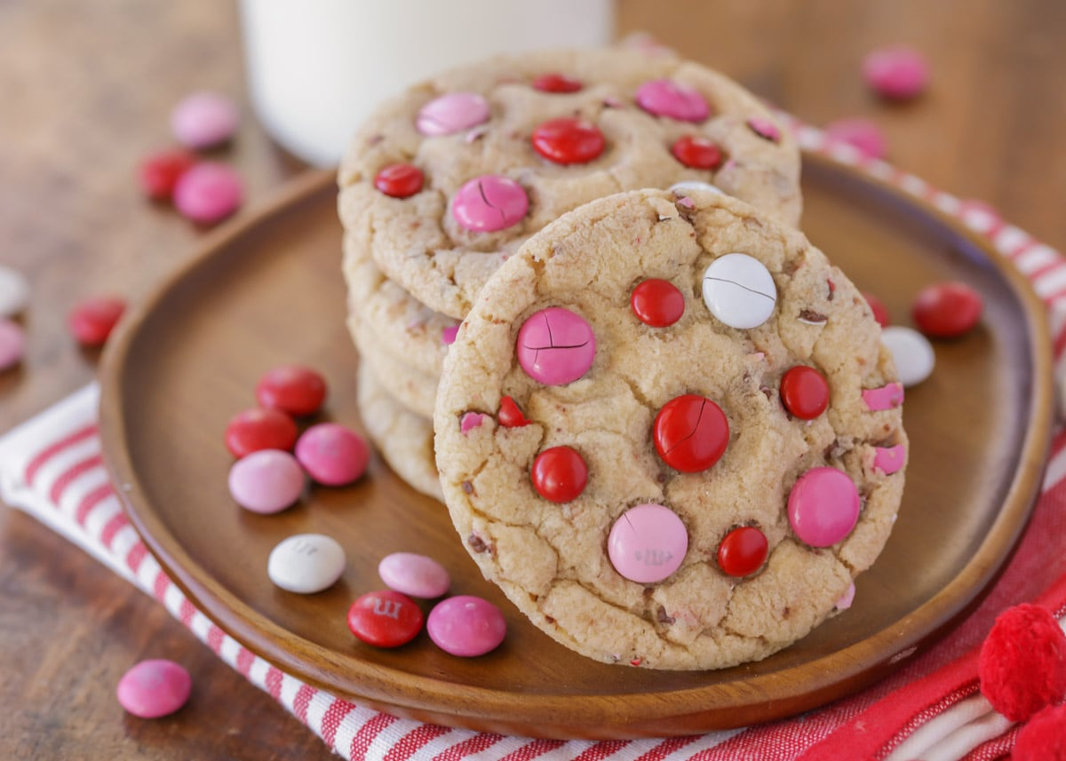 Valentine Cookies made with pink and red M&Ms