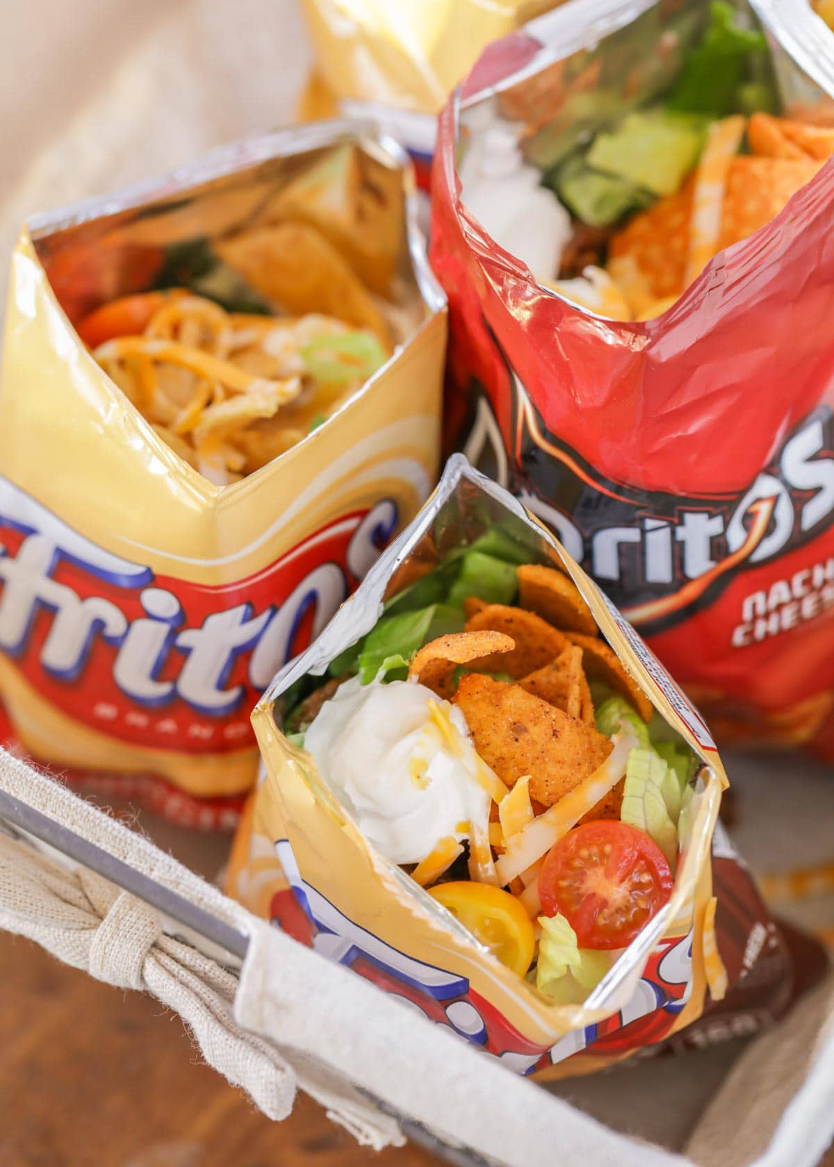 Walking tacos recipe in small chip bags