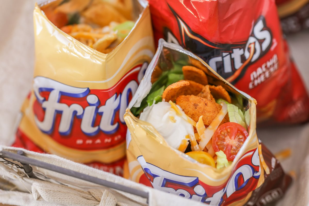 Walking tacos served in small chip bags