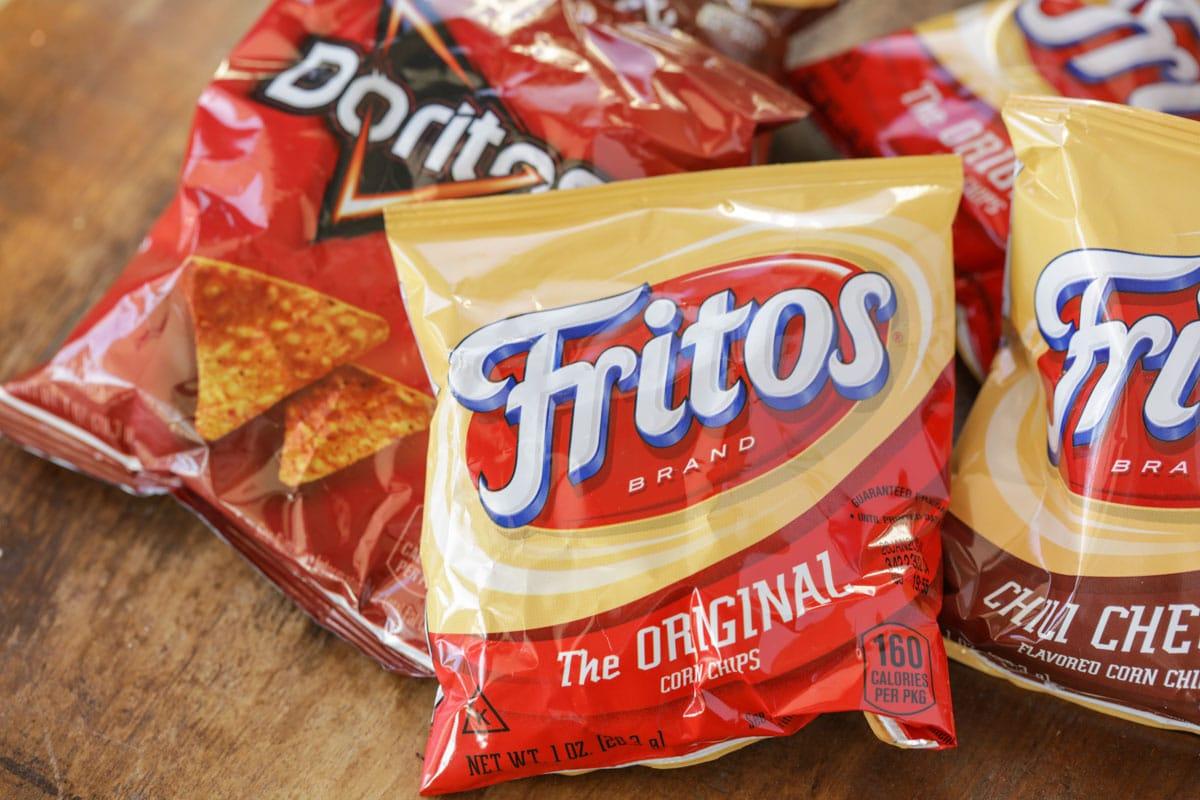 Small bags of fritos and doritos