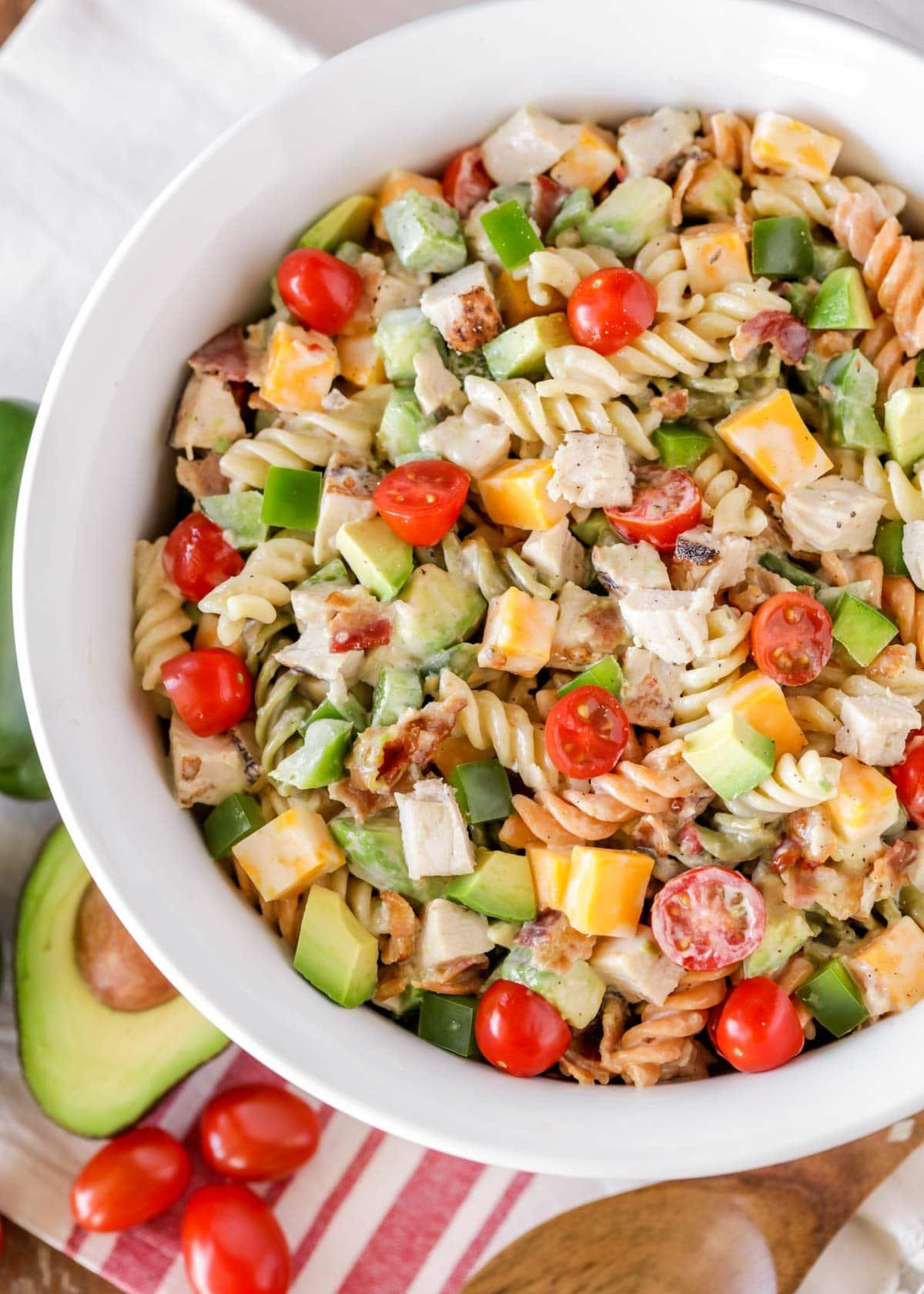 Chicken pasta salad recipe in a white bowl