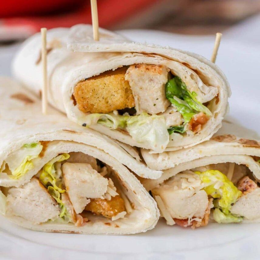 Chicken Caesar Wraps Wrapped in Flour Tortilla