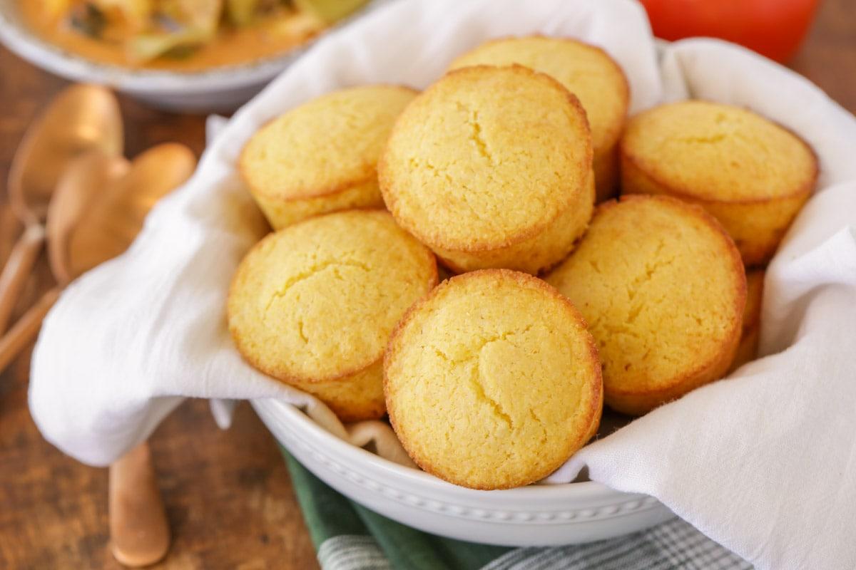sweet cornbread muffins in a glass bowl