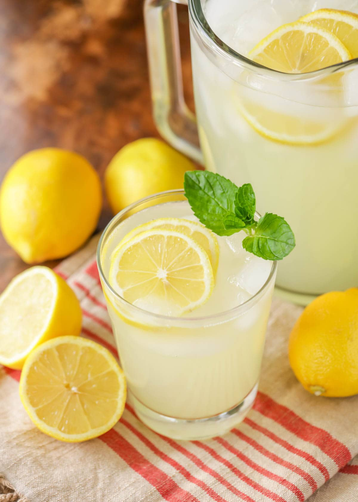 Lemonade recipe with a slice of lemon and mint