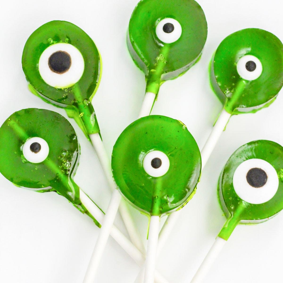 Green monster suckers with eyeballs