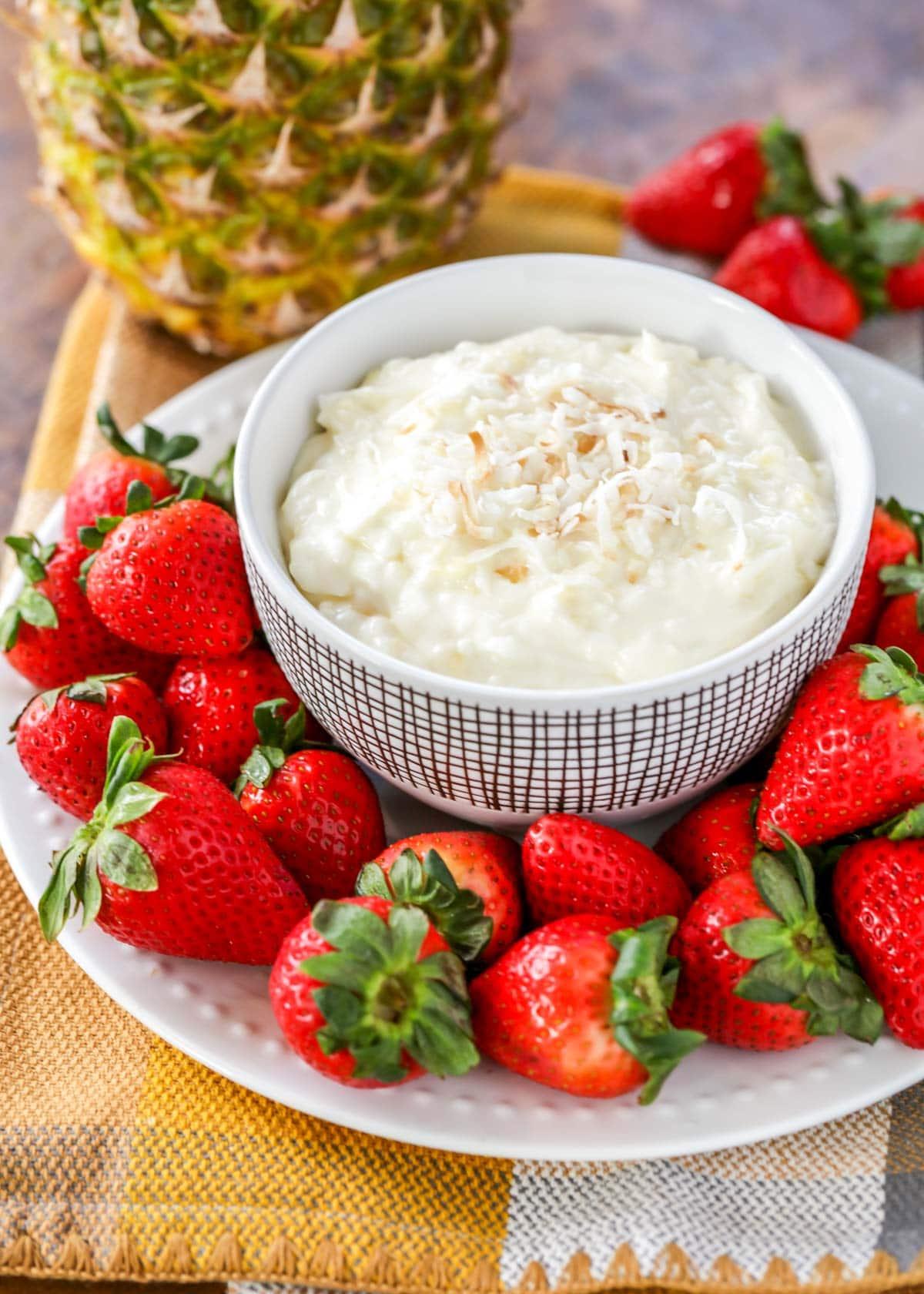 Pina colada fruit dip recipe in a white bowl
