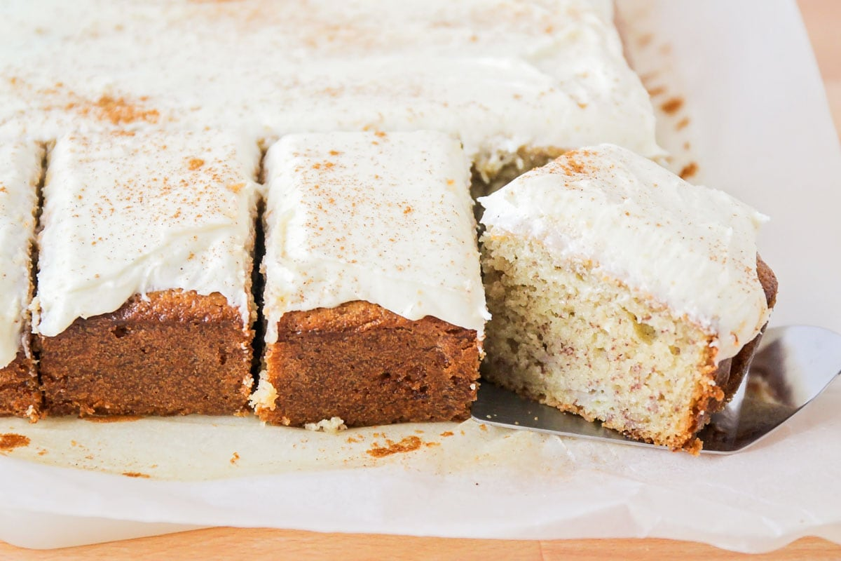frosted banana bread brownies on parchment paper