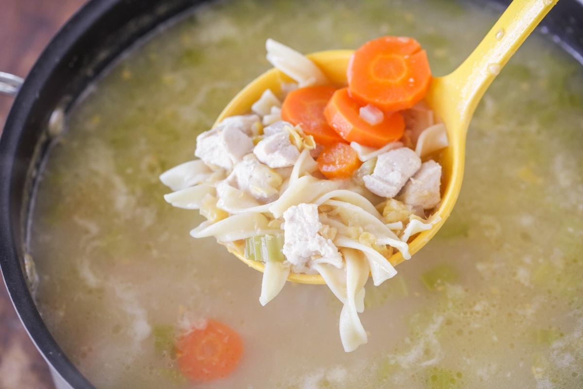 ladle full of chicken corn soup