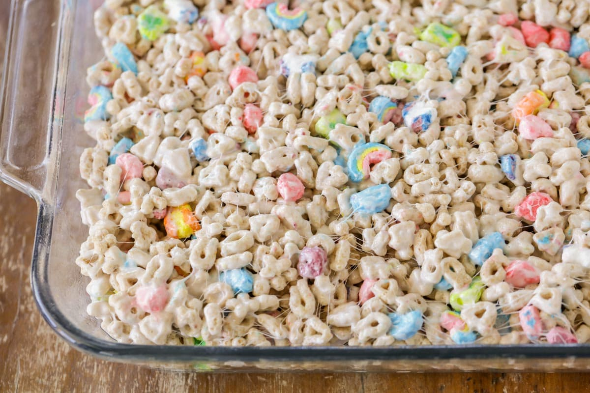Lucky charms marshmallow treats in 9x13