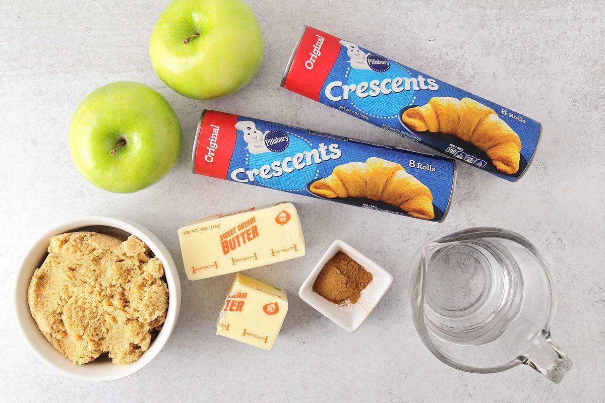 Ingredients for apple crescent dumplings recipe