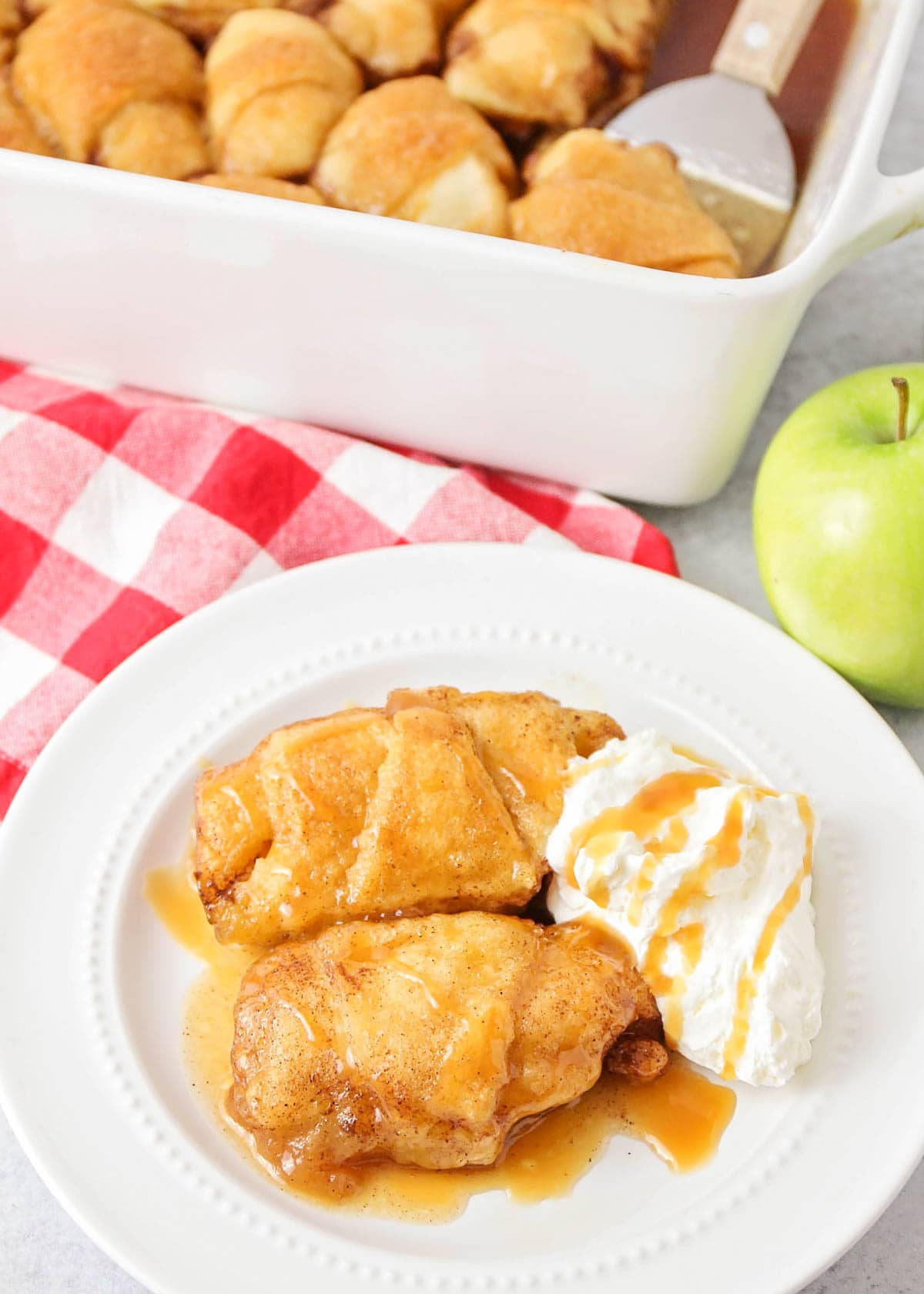 Apple crescent dumplings on a white plate