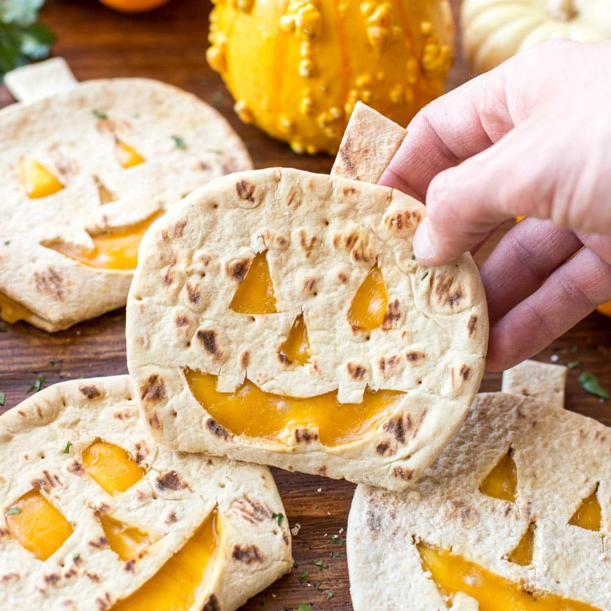 Pumpkin quesadillas cute in jack o lantern shapes