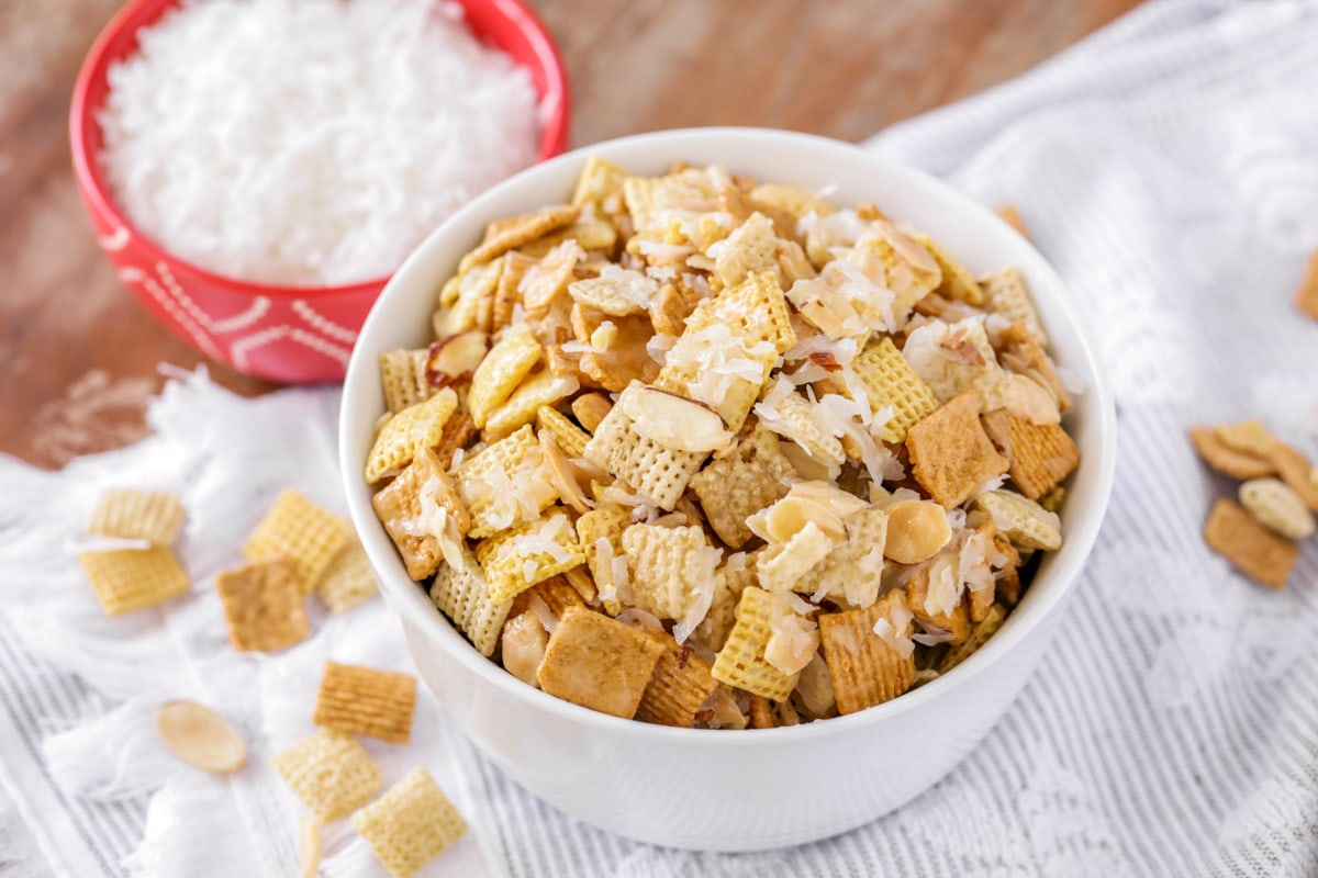 sweet chex mix in a white bowl