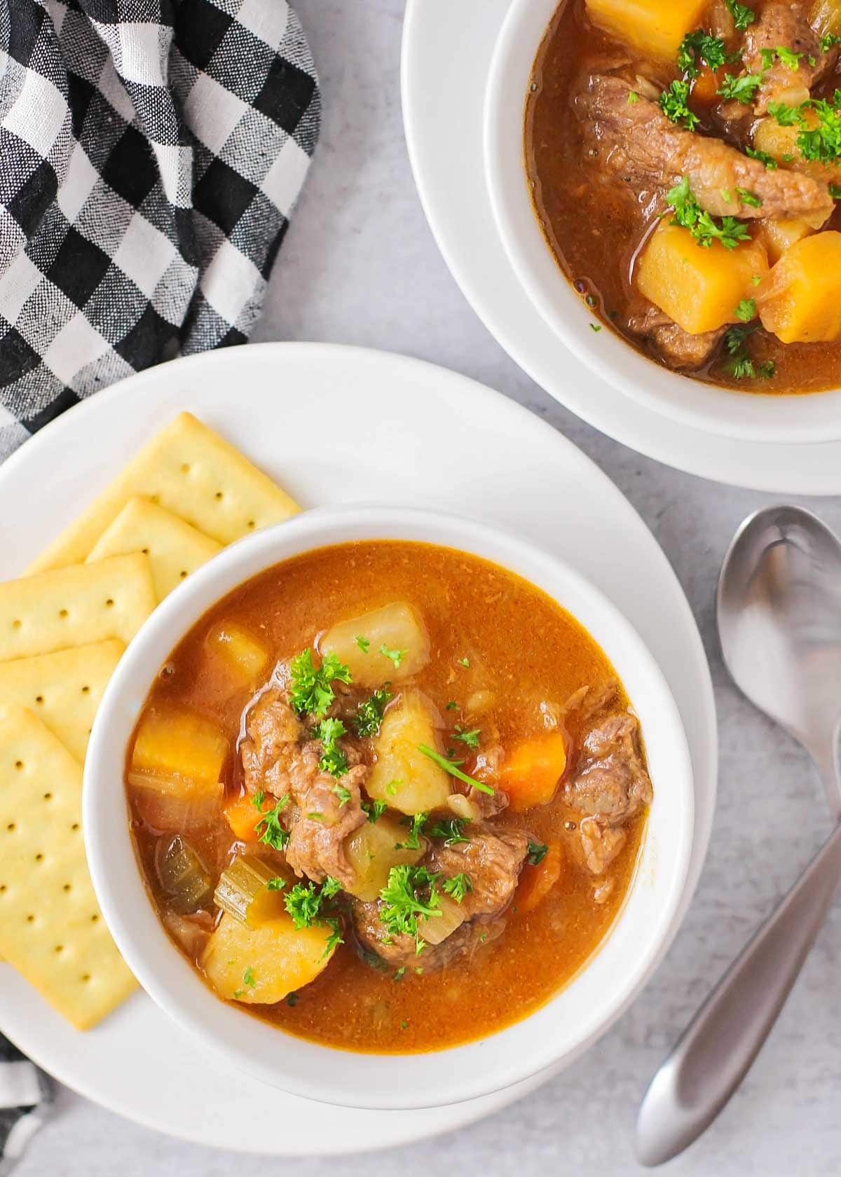 Two bowls full of instant pot beef stew