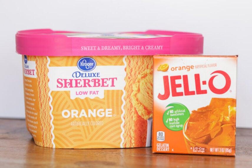 Halloween punch ingredients - sherbet and orange jello
